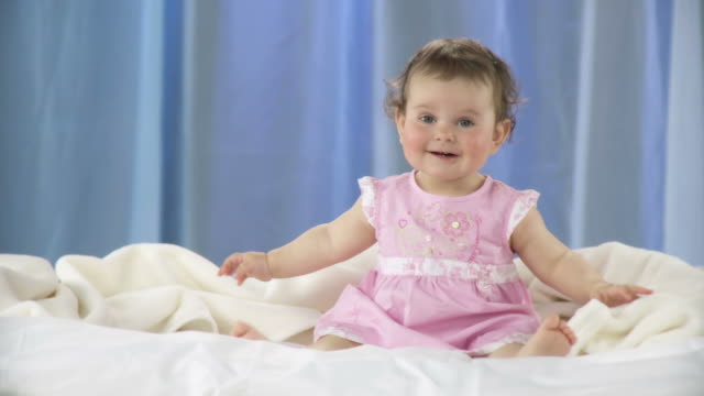hd: little girl in a pink dress - one baby girl only stock videos & royalty-free footage