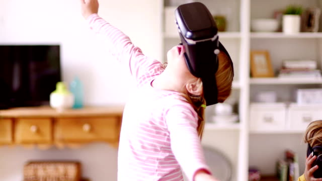 Little girl in a  Virtual Reality World