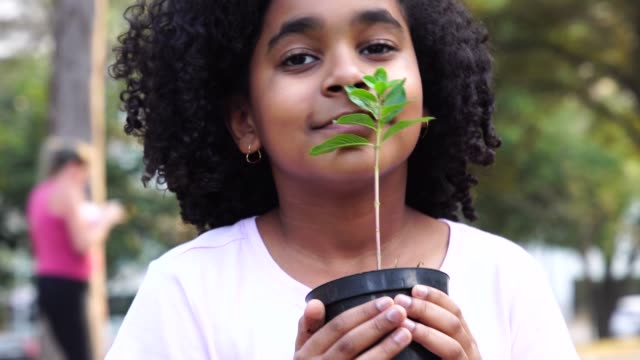 little girl in garden, smelling fresh plant - responsibility stock videos & royalty-free footage