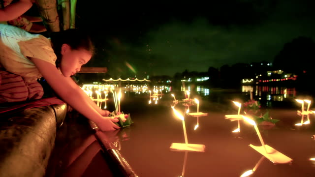 Little girl in Loi Krathong Traditional Festival