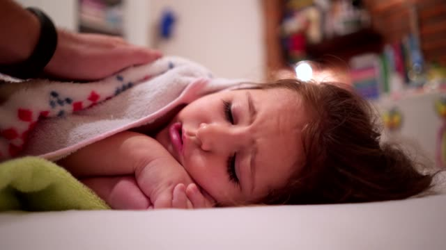 little girl is shivering from fever - illness stock videos & royalty-free footage