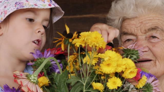 vídeos de stock, filmes e b-roll de menina aprender a organizar as flores em um vaso. pessoas reais, cena rural. - jovem de espírito