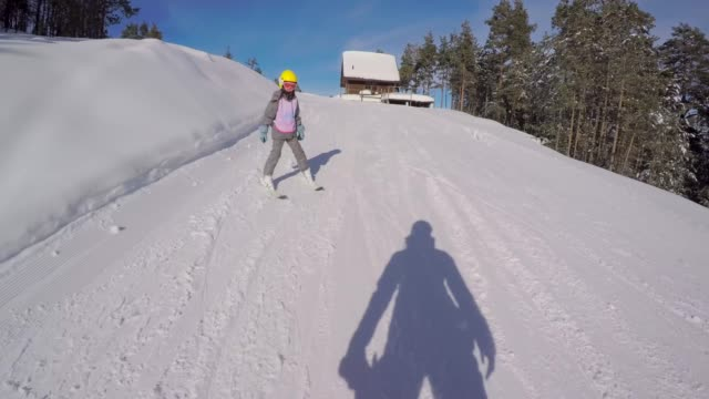 little girl learn to ski with ski instructor - ski slope stock videos & royalty-free footage