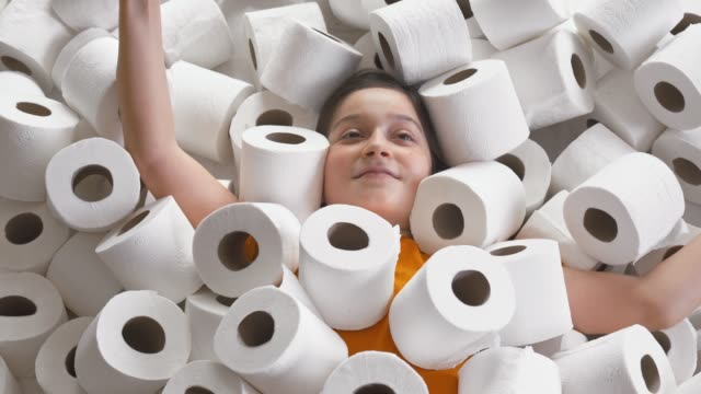 little girl lies in toilet papers - insulator stock videos & royalty-free footage