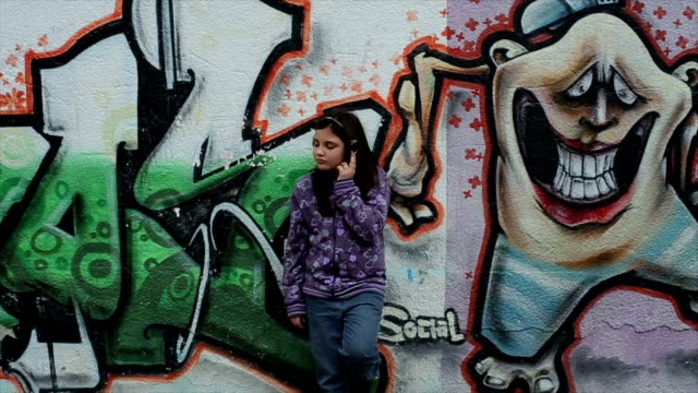 little girl listen hip hop music - graffiti stock videos & royalty-free footage