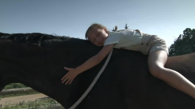 vídeos de stock, filmes e b-roll de little girl lying on horseback - young animal