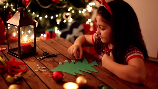 little girl making christmas card - greeting card stock videos & royalty-free footage