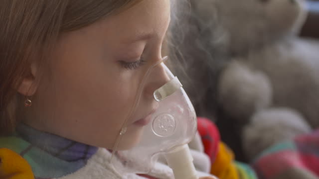 little girl making inhalation - cystic fibrosis stock videos & royalty-free footage