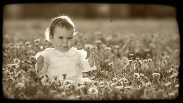 hd slow-motion: little girl on a meadow - sepia stock videos and b-roll footage