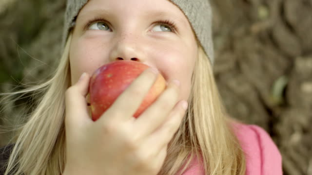 little girl outdoors - apple fruit stock videos and b-roll footage
