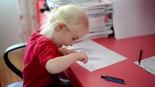 little girl painting and writing - elementary school building stock videos & royalty-free footage
