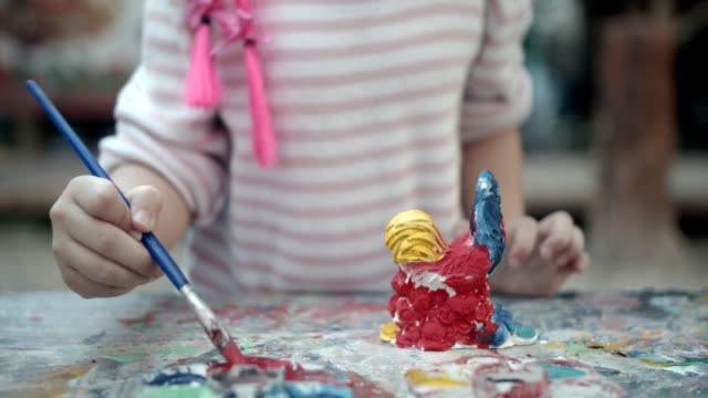little girl painting - 4 5 years stock videos & royalty-free footage