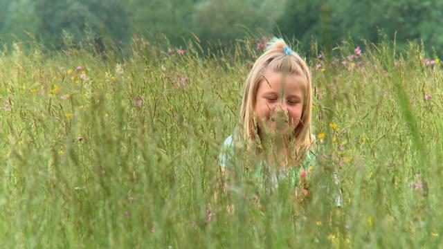 hd crane: little girl picking flowers - picking stock videos & royalty-free footage