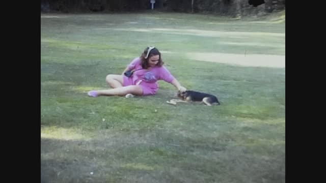 little girl play dog lawn in 70's - cute stock videos & royalty-free footage