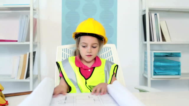 little girl playing architect - hardhat stock videos & royalty-free footage