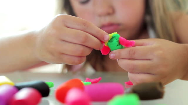 little girl playing - molding a shape stock videos & royalty-free footage
