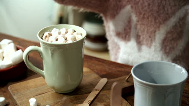 little girl preparing hot chocolate - spoon stock videos & royalty-free footage