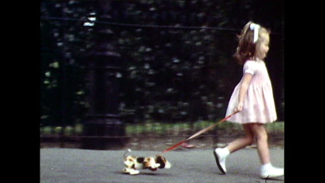 little girl pulls a toy dog along behind her; 1971 - animal colour stock videos & royalty-free footage
