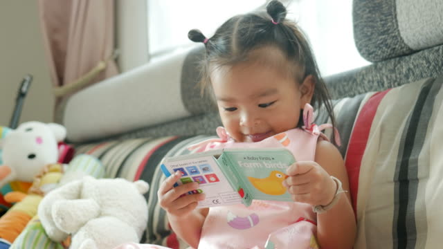 vídeos de stock e filmes b-roll de little girl reading book in living room - infância