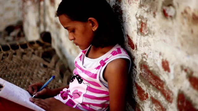little girl reading - poverty stock videos & royalty-free footage