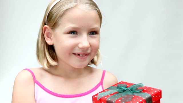 Little Girl Receiving Gift Present