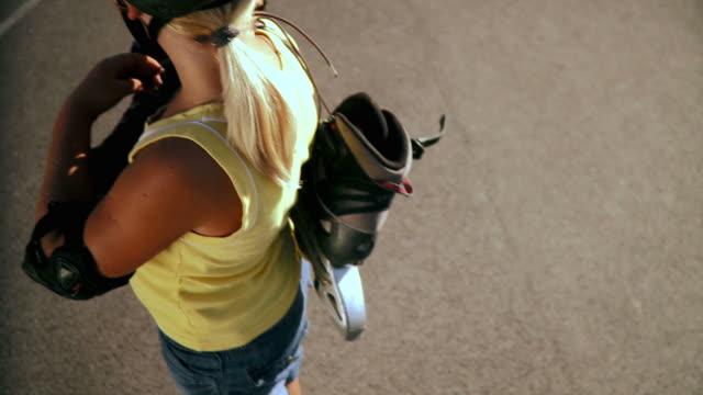 hd: little girl rollerskating - elbow pad stock videos & royalty-free footage