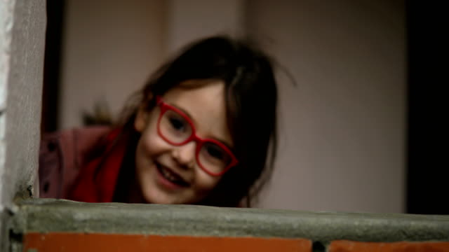 little girl run away from camera - balcony stock videos & royalty-free footage