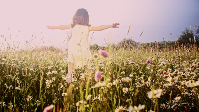 slo mo little girl running through meadow - daisy stock videos & royalty-free footage