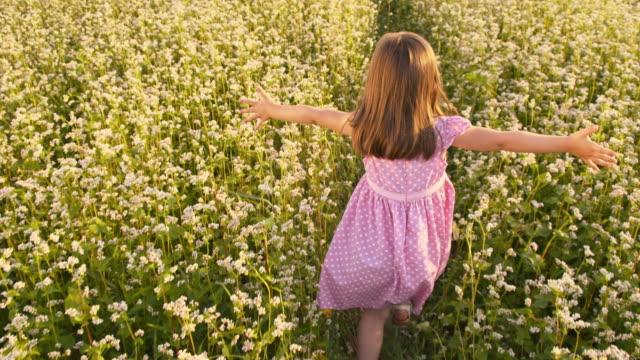 SLO MO Little girl running through the buckwheat field