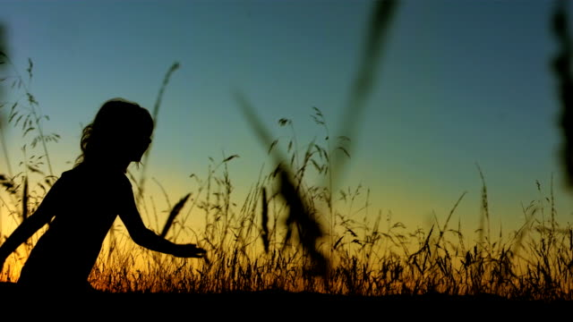 la ts slo mo little girl silhouette running in grass - in silhouette stock videos & royalty-free footage