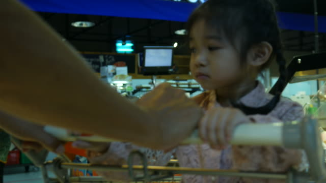 little girl sit on shopping cart while shopping with family