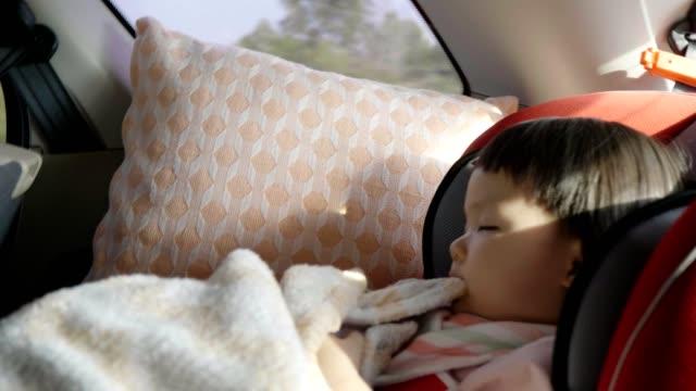 特別な車の座席に座っている小さな女の子 (12-23 マウント) - 車内点の映像素材/bロール