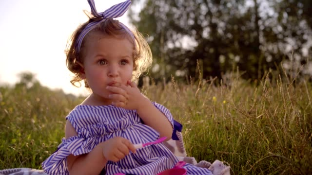little girl sitting in the grass - hair accessory stock videos & royalty-free footage