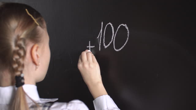 little girl solving mathematical problems - smooth stock videos & royalty-free footage