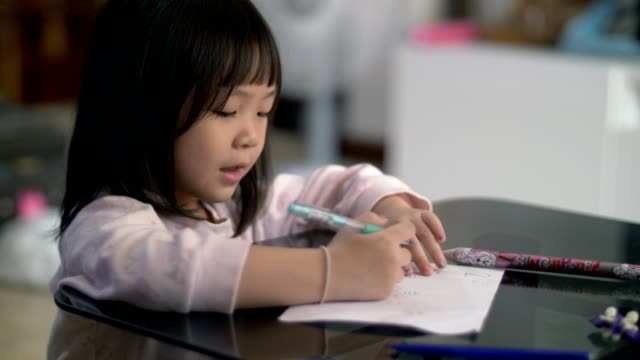 little girl(4-5 years) study and learning writing on paper - 4 5 years stock videos & royalty-free footage