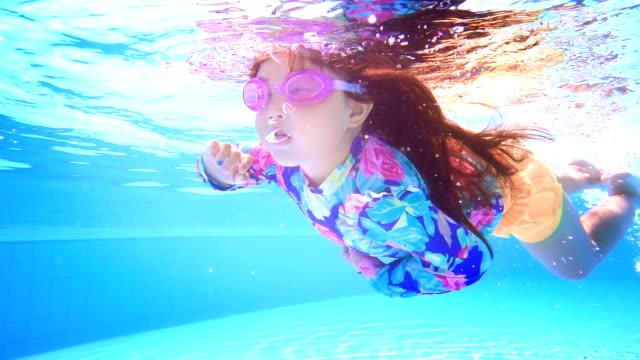 stockvideo's en b-roll-footage met zwemmen in zwembad blauwe water meisje - waterpark
