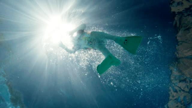 Little Girl Swimming in the Resort Pool