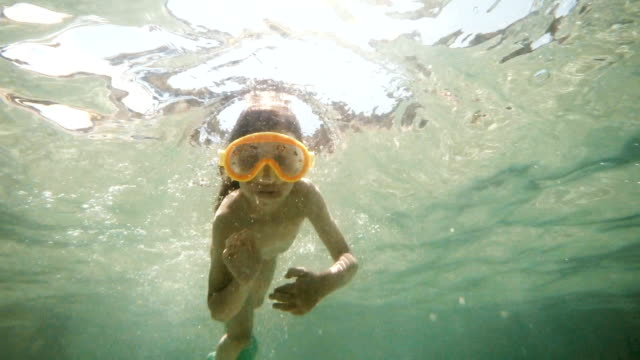 Little Girl Swimming Underwater in Sea