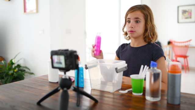 little girl vlogging - home video camera stock videos and b-roll footage