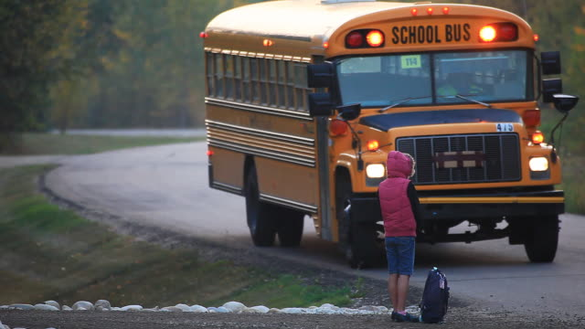 little girl waiting for school bus - bus stock videos & royalty-free footage