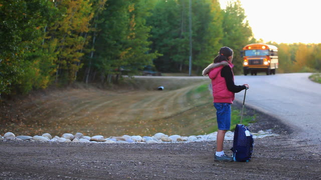little girl waiting for school bus - driveway stock videos & royalty-free footage