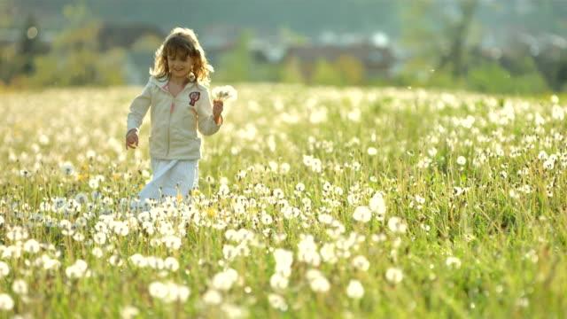 SUPER SLO-MO Little Girl Walking In The Meadow