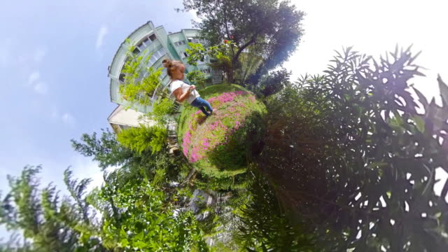 little girl walking little tiny planet - 360 video stock videos & royalty-free footage