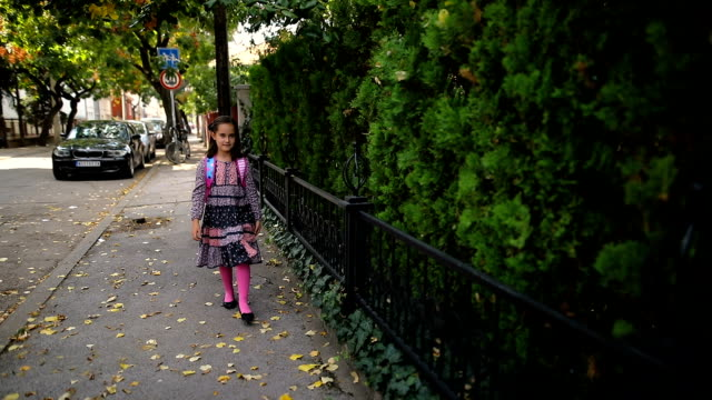 小さな女の子は学校に歩きます - 少女点の映像素材/bロール