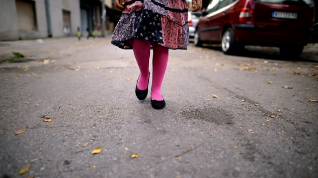 little girl walks to school - first day of school stock videos & royalty-free footage