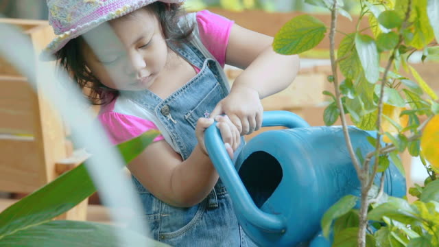 Little girl watering potted plant in garden \\ Concept : taking care of nature