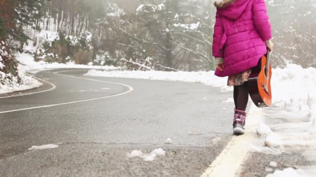 Little girl with a guitar walking in a snowy cold day