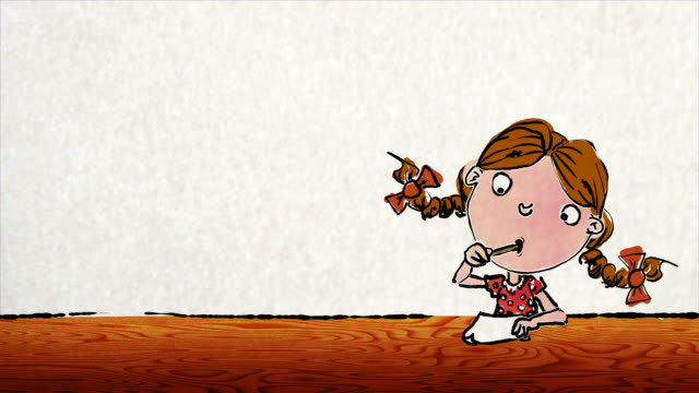 little girl with bouncey pigtails writes a letter - cartoon stock videos & royalty-free footage