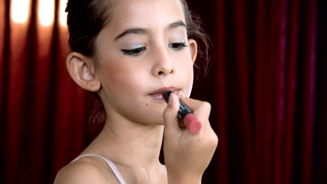cu : little girl with lipstick - 8 9 years stock videos & royalty-free footage