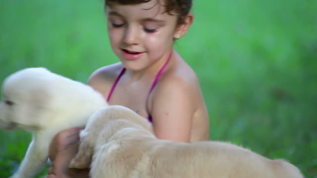 Little Girl with puppies outdoor fun